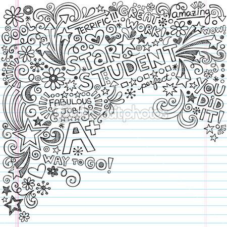 Star Student A-Plus Inky Scribble Doodles- Back to School Notebook Doodle Vector Illustration