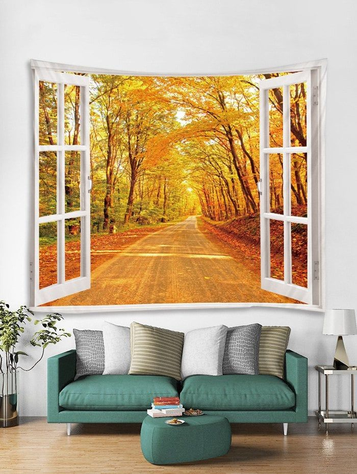 Window Maple Forest Print Tapestry Wall Hanging Art Decoration