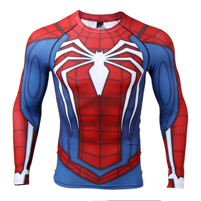 Manga de raglán Del Hombre Araña 3D Impreso camisetas Hombre Camisas de Compresión 2017 NUEVA Tops Hombre Ropa de Fitness Musculación Crossfit