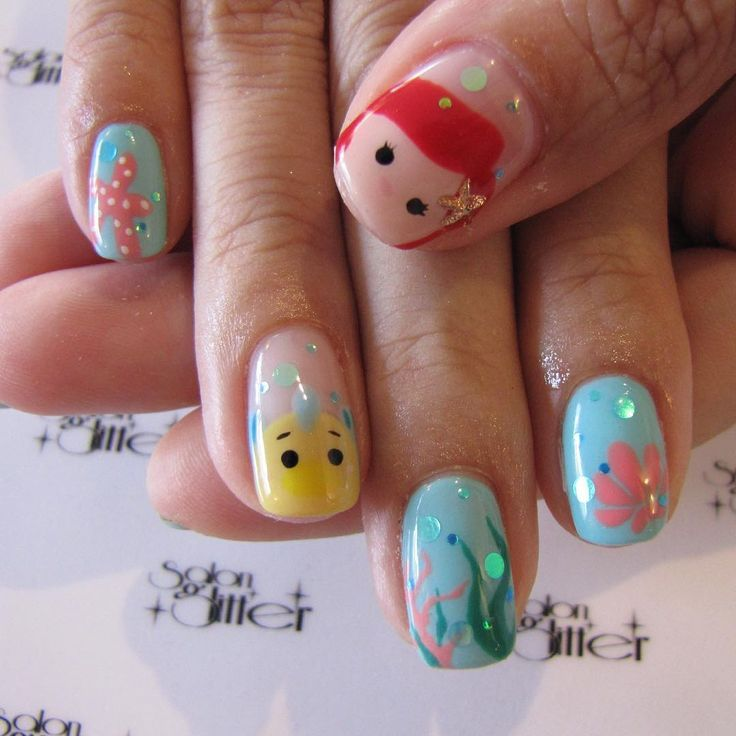 Little Mermaid Tsum Tsum nails Nail Design, Nail Art, Nail Salon, Irvine, Newport Beach