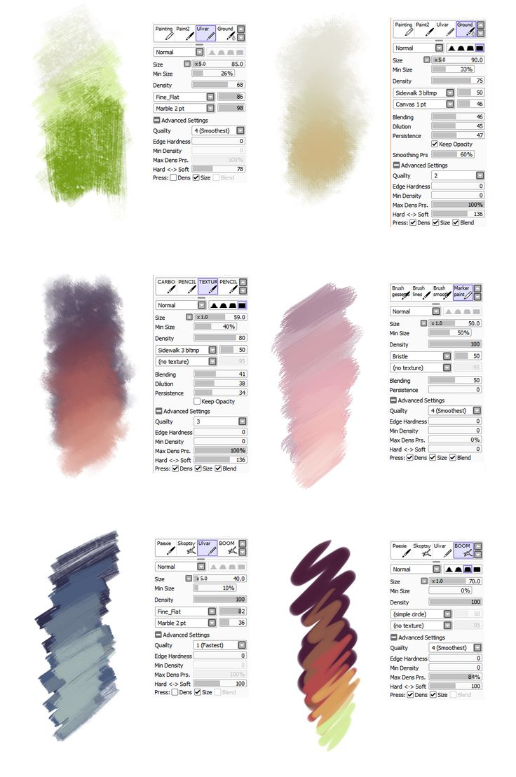 Brush settings by sirwendigo http://sirwendigo.deviantart.com/art/Brush-settings-for-Paint-tool-SAI-511385825