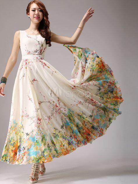 Maxi vestido de gasa con escote en U y estampado floral - Milanoo.com