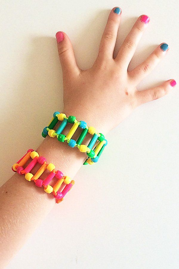 Using just three common household craft items, these shoelace bracelets are fun to make and to wear.