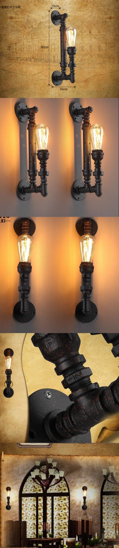 Vintage Industrial Pipe Wall Lamps Sconce Lights Home Decoration E27 Edison Bulb