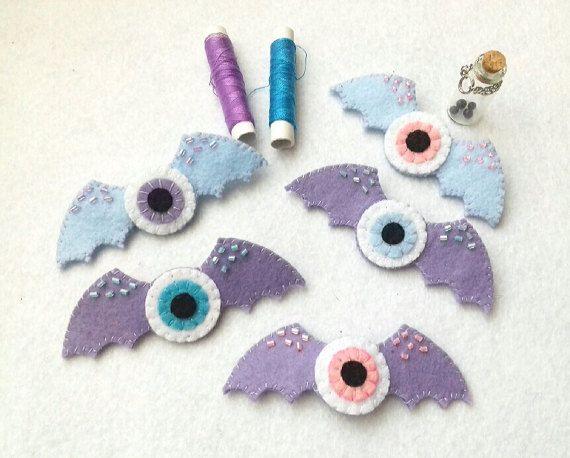 Bat Wings Eyeballs Pin Pastel Goth Fairy Kei Felt pin Pastel Grunge Halloween Creepy and Cute Pin