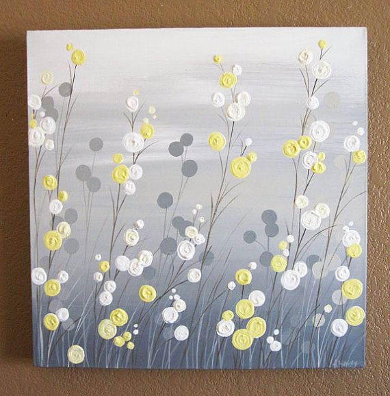 Wall Art Yellow Grey Whimsical Flower Field di MurrayDesignShop