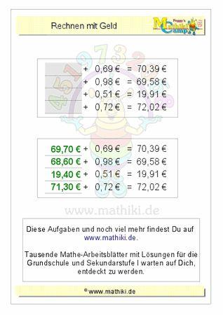 Rechnen mit Geld (ZE,Z0€+E,ZE€) - ©2011-2016, www.mathiki.de - Ihre Matheseite im Internet #math #money #geld #euro #cent #arbeitsblatt #worksheet
