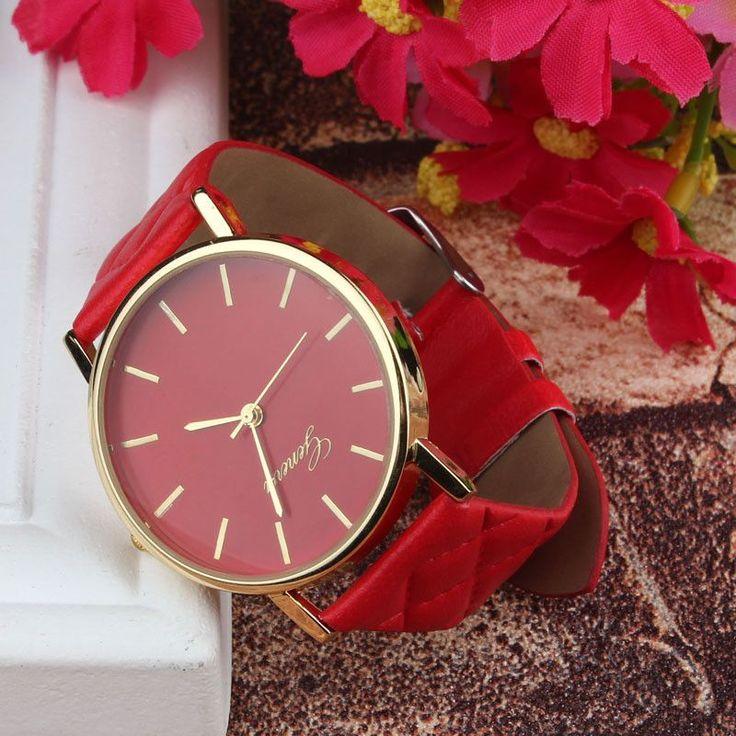 2015 Fashion Style Unisex Casual Geneva Watch Checkers Faux Leather Quartz Analog Wrist Watch