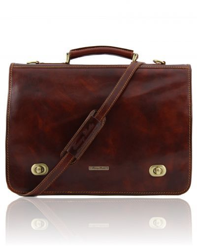 SIENA TL10054 Leather messenger bag 2 compartments - Cartella in pelle 2 scomparti