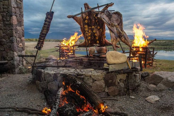 Outdoor grilling: Francis Mallmann's setup at his Siete Fuegos restaurant in Argentina.