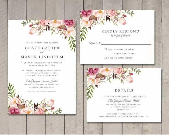 Wedding Invitation Template 71 Free Printable Word Pdf Psd I Free Printable Wedding Invitations Floral Wedding Invitations Wedding Invitation Card Design