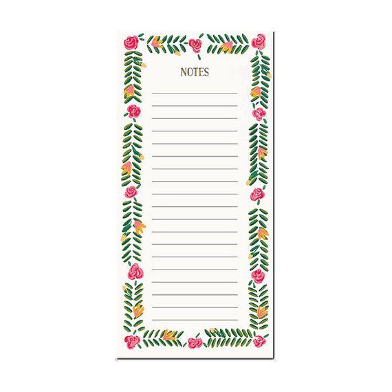 Magnetic notepad -  flower pattern by amylindroos.com on Etsy