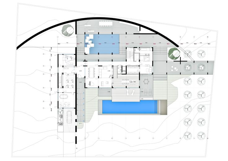 Private Residence_Kardamili, Greece. Main Floor Plan | Phase: City Planning Permition. (2012 - on going)
