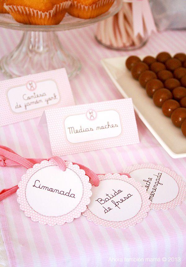 Ahora, también mamá: Cartelitos y etiquetas colgantes para decorar una mesa dulce o candy bar