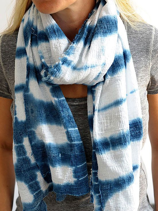 This DIY dip-dyed scarf is perfect for summer! Instructions: http://www.bhg.com/decorating/do-it-yourself/accents/dip-dyed-projects/?socsrc=bhgpin042815dipdyescarf&page=2