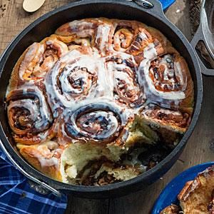 Dutch Oven Cinnamon Rolls | MyRecipes.com Use for the baking-on-site info, but use my cinnamon roll recipe.