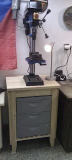 BEKVAM cart drill press stand with ERIK drawers instead of center shelf