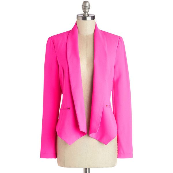 ModCloth Neon Short Long Sleeve Celebrating Success Blazer (76 CAD) ❤ liked on Polyvore featuring outerwear, jackets, blazers, modcloth, pink blazer, pocket jacket, party blazers, pink blazer jacket and blazer jacket