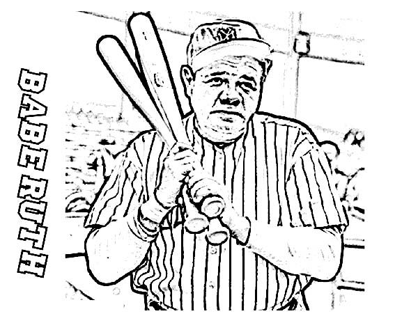 Babe Ruth The Baseball Legend In Mlb Coloring Page Color Luna Free