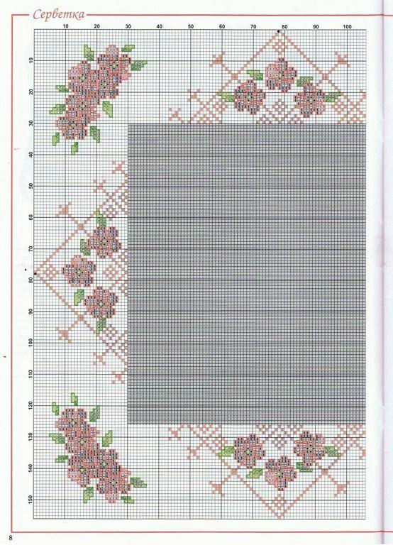 1 - ☕  ☕   Almofadas em  Ponto Cruz com Flores -  /    ☕  ☕  Cushions up Cross Stitch Graph with Flowers -