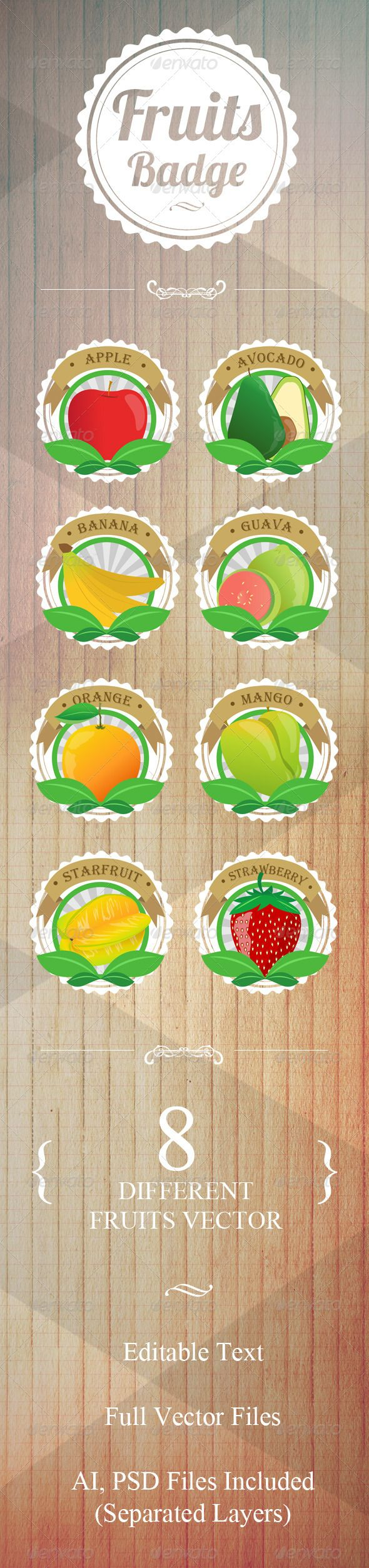 8 Fruit Badges Vector #photoshop #psd #ribbon #retro • Available here → https://graphicriver.net/item/8-fruit-badges-vector/5047652?ref=pxcr