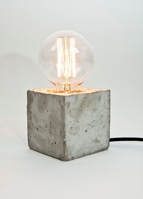 LJ Lamp alpha - concrete table lamp with textile cable - Made in Berlin