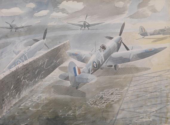 Spitfires at Sawbridgeworth, Herts, by Eric Ravilious