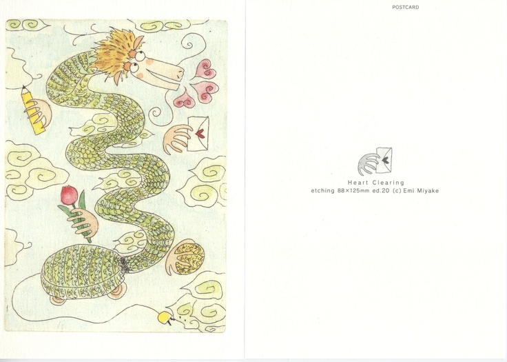 'Heart Clearing' postcard  etching,gouache by Emi Miyake  http://emingm.wix.com/bookishgirls