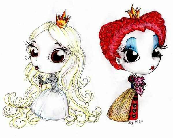Alice in Wonderland (from the Tim Burton version) artwork. Two Queens. Adorable oversized head artwork.