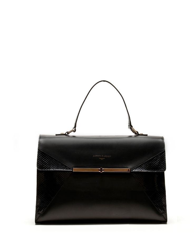 BAG IN MATTE LEATHER WITH DETAILS STAMPED IN REPTILE PATTERN - Shoes Woman - Alberto Guardiani