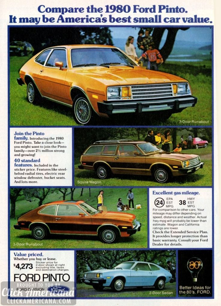Compare the 1980 Ford Pinto  Read more at http://clickamericana.com/media/advertisements/1980-ford-pinto-americas-best-small-car-value | Click Americana