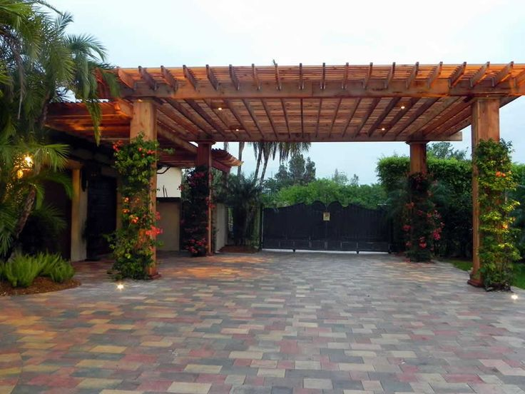 45 best garage pergola and gazebo ideas images on pinterest for Carport landscaping ideas