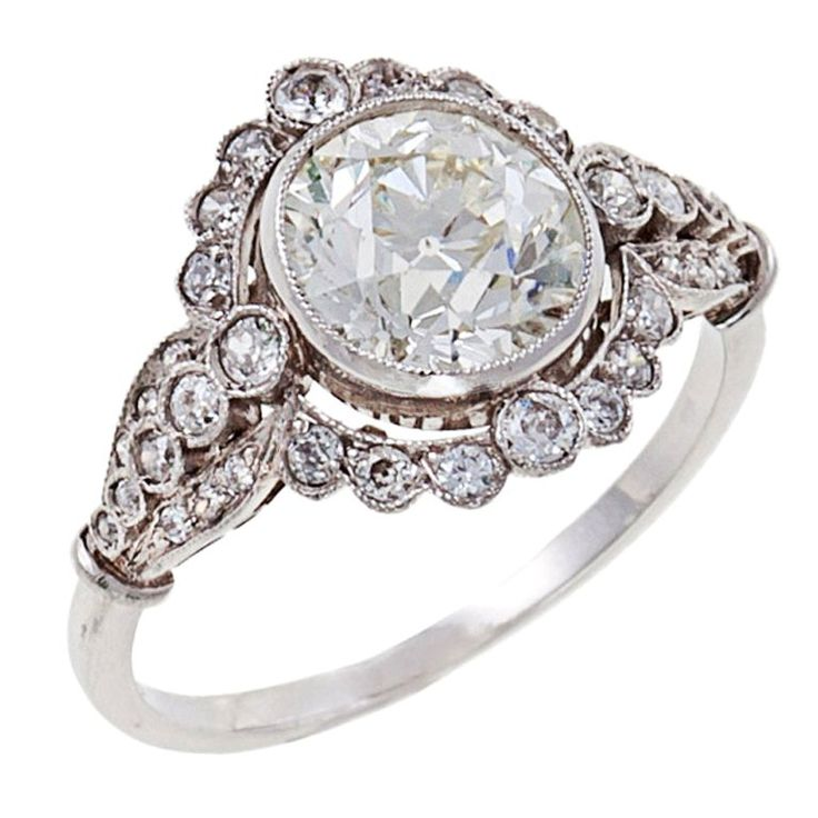 Edwardian Diamond Platinum Engagement Ring 1