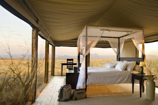 Namibian desert from a four-poster bed
