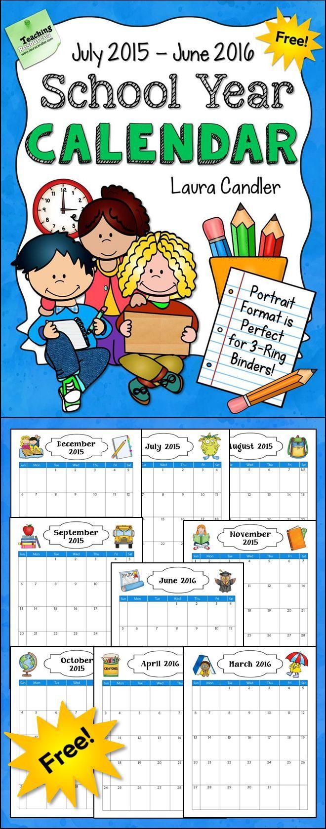 Year Up Calendar : School year calendar for awesome freebie