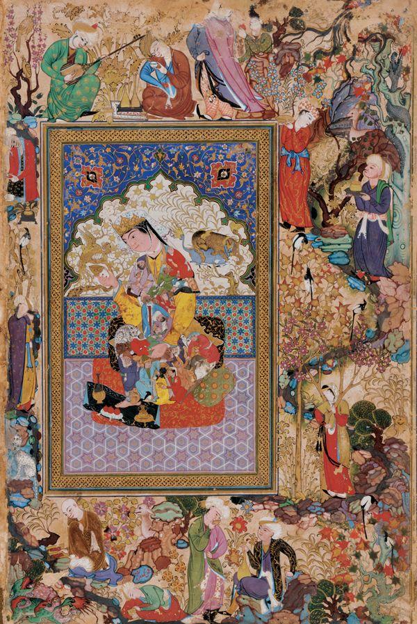 Attribué à Mohammad-Sharif Mosawwer, Portrait d'une princesse entourée de scènes champêtres, miniature, Boukhara, vers 1600. Freer Art Gallery, Washington.