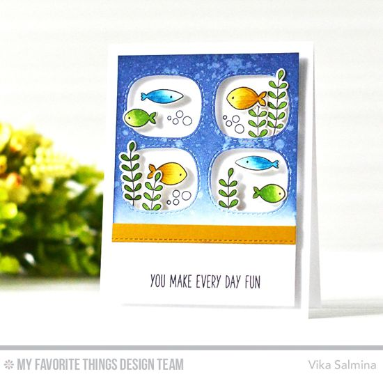 Handmade card from Vika Salmina featuring Soak Up the Fun stamp set and Die-namics, Stitched Triple Peek-a-Boo Windows and Stitched Basic Edges 2 Die-namics #mftstamps