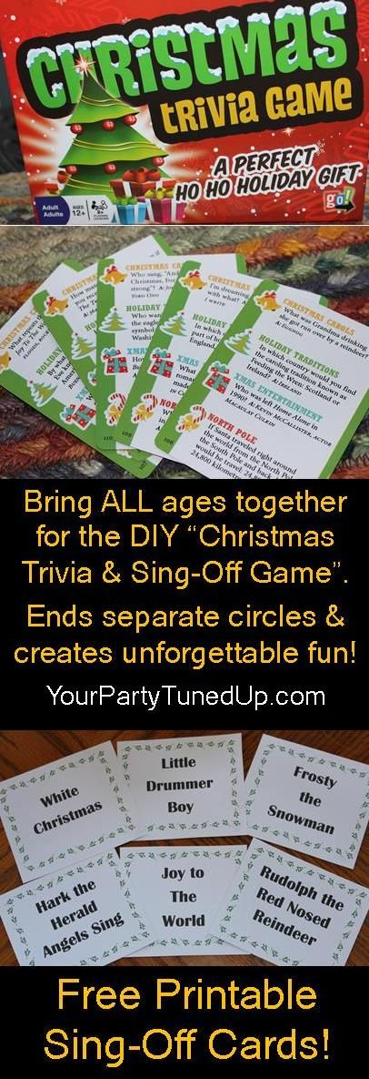CHRISTMAS TRIVIA AND SING-OFF PARTY GAME. This fun DIY game combines trivia (store bought), a Sing-Off (click for free printables) and prizes to bring everyone together like magic. Create a new family tradition that everyone will look forward to!