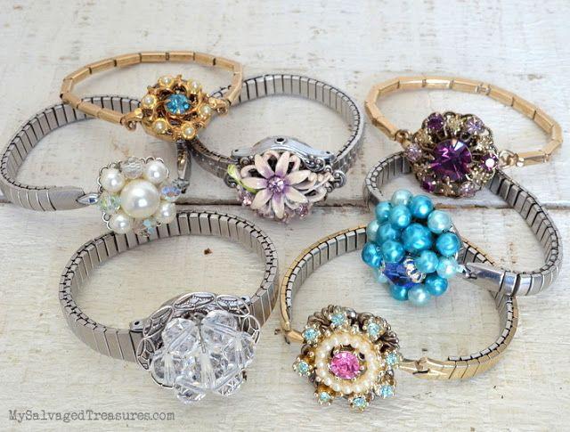 repurposed vintage clip on earrings bracelets
