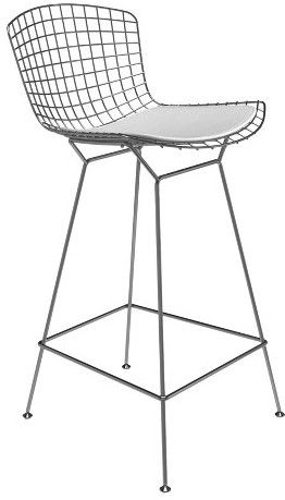 Aeon Aspen Modern Classic Wire Counter Stool Stainless Steel Finish and Leather Seat Pad