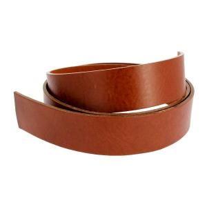 Lanière de cuir de collet nourri - MARRON CUERO - larg = 34 mm - Long = 120 cm