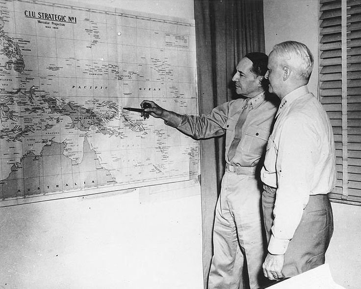 MacArthur and Nimitz at MacArthur's headquarters, Brisbane, Australia, 27 Mar 1944