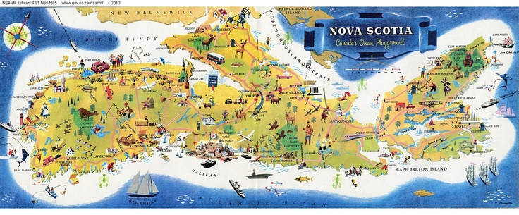 What a fun #NovaScotia map for planning a road trip!