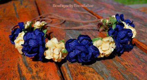 BRENDA LEE Navy/daffodil yellow flower head wreath floral hair accessory/wedding bridal bridesmaids bride women bohemian boho headband on Etsy, $34.02