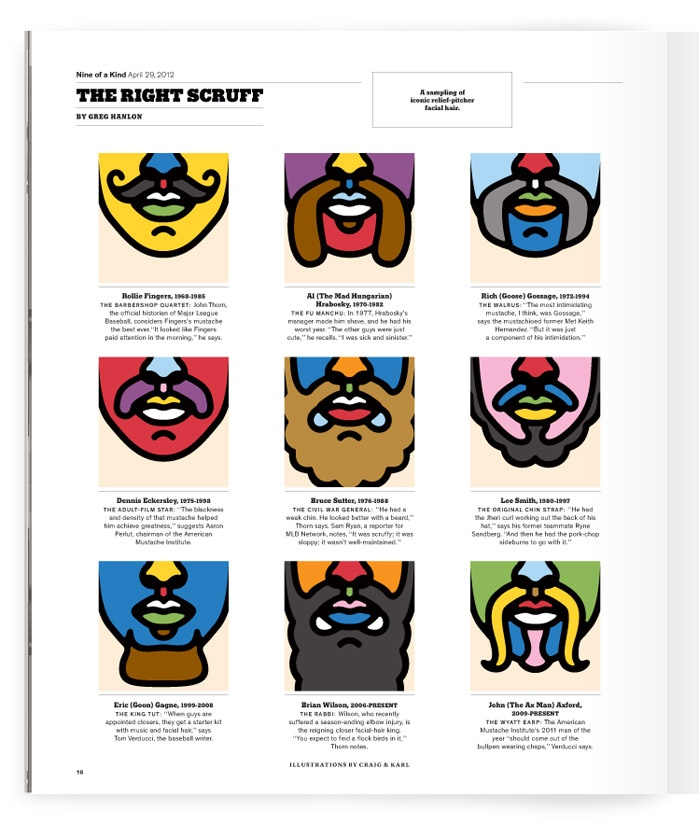 New York and London based and design duo Craig & Karl for a while. Here's a typical big, bold piece for The New York Times on relief pitcher facial hair over the ages.: Design Duo, Better View, Arts You, Graphics Illustrations, Duo Craig, New York Times, Color Graphics, Blink Art, Time Magazines
