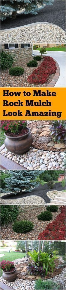 Rock mulch, landscaping with rock mulch, landscaping hacks, tips and tricks, gardening, gardening hacks, landscape and yard, outdoor living. #outdoorsliving