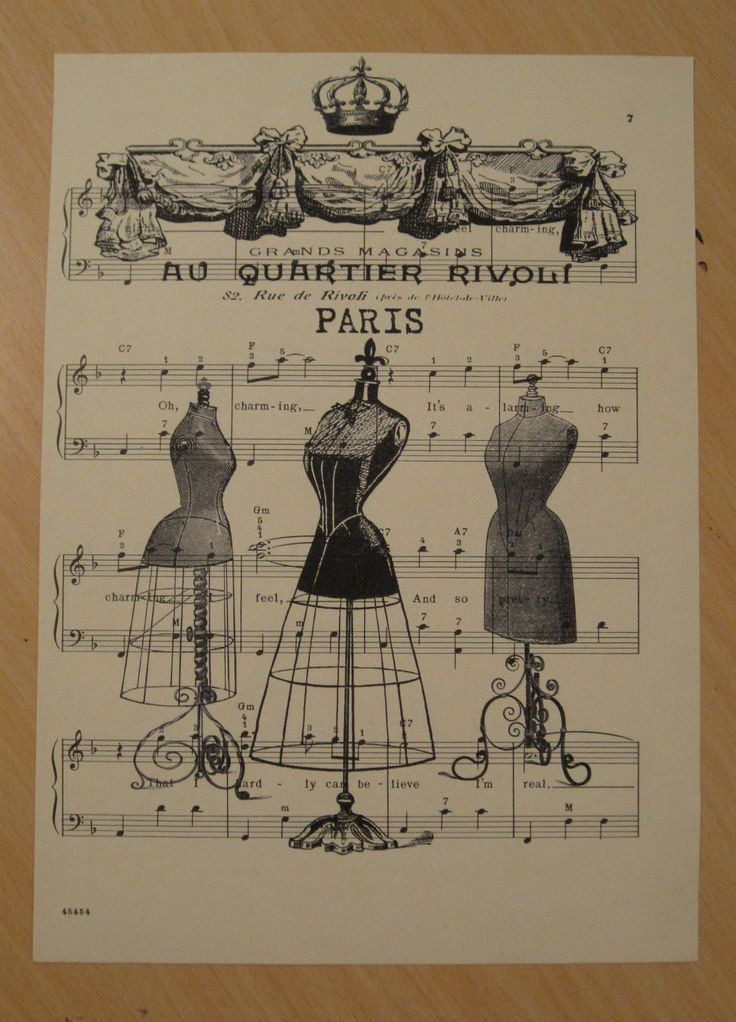 shabby chic clothes | french dress forms shabby chic sheet music by OkioBDesigns on Etsy