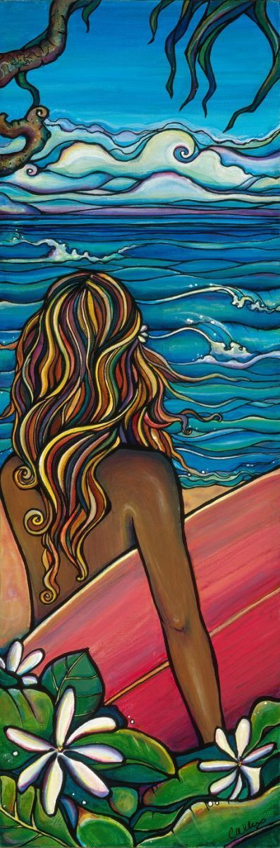 Hawaii beach, Surf Life - Art Inspiration - North Shore-Giclee (Canvas Print) - by Colleen Wilcox