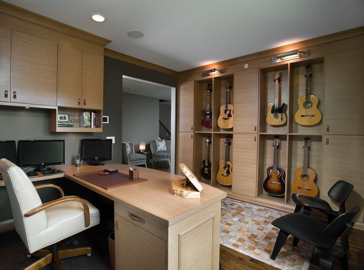 Enchanting Home Office Decor with Recessed Lighting and Wood Flooring Also Using Modern Storage Cabinets