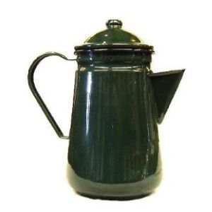 Falcon Enamel Coffee Pot Green 13cm. Sturdy enamel tableware range, for all occasions. Vitreous double coated enamel. Free Delivery on orders over £50.00.